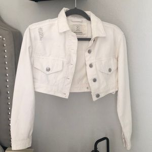 Cropped white distressed Jean jacket